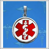Sterling Silver Round W/ Bezel Medical ID Charm or Pendant W/ Red