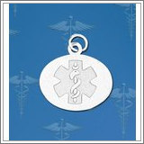 Sterling Silver Oval Medical ID Charm or Pendant