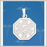Sterling Silver Octagon Medical ID Charm or Pendant