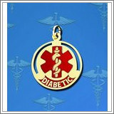 "14K Gold Round Medical ""Diabetic"" Charm W/ Red Enamel"