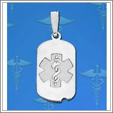 Sterling Silver Dog Tag ID Charm or Pendant