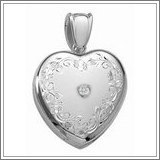 14K White Premium Cremation & Hair Locket w/ Diamond Center