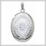Sterling Silver Cremation & Hair Locket w/ Diamond Center