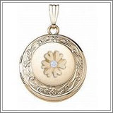 14K Yellow Cremation & Hair Locket w/ Diamond Center