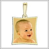"""Curved Rectangle Photo Pendant Charm """"EXCLUSIVE"""""""