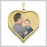 14K Large Heart w/ Bezel Frame Photo Pendant Picture Charm